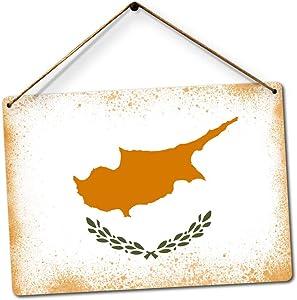 PotteLove Worn Cyprus Flag Art Europe Mediterranean Cypriot Decor Novelty Art Sign Funny Aluminum Metal Tin Signs 8
