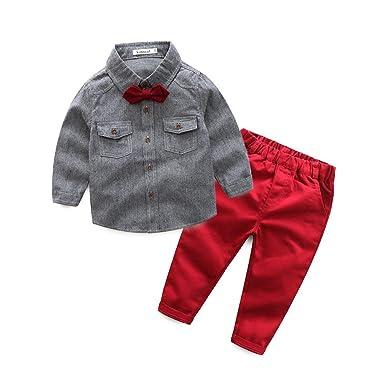 d1b36c78b84e Image Unavailable. Image not available for. Color: Kimocat Baby Boy Clothes  Set 2pcs Shirt+Pants Long Sleeve Shirt Gentleman ...