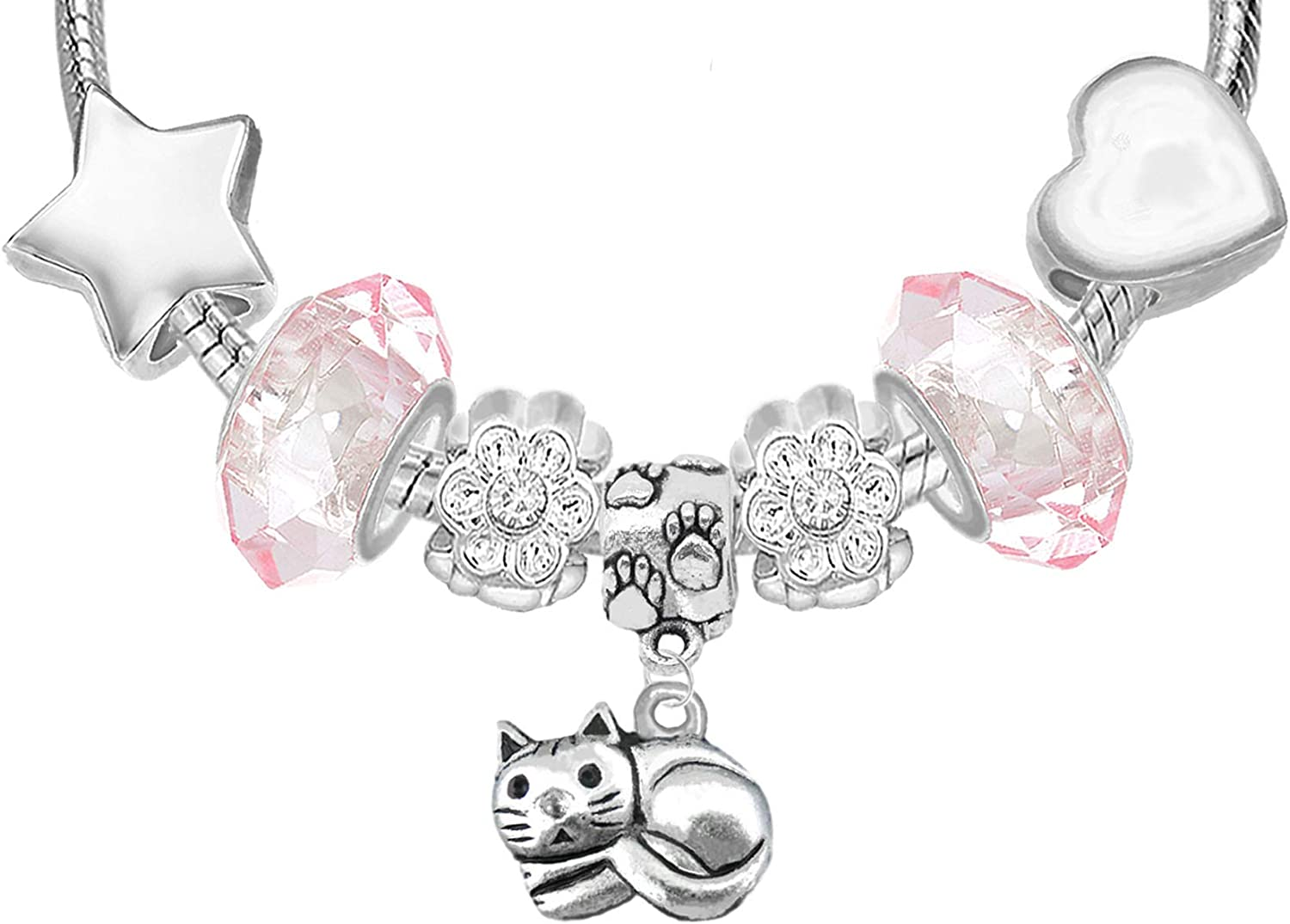 Cat Lovers Sparkly Crystal Charm Bracelet Greeting Card and Gift Box Set