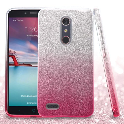 ZTE Grand X Max 2 Kirk Zmax Pro Imperial Max Duo 4G LTE - Pink Gradient Glitter Hybrid Case - Pink Gradient