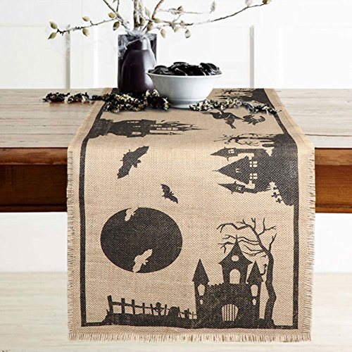 Aytai Halloween Table Runner Burlap Haunted House Table Runner, Rustic Jute Fringe Table Cover for Home Scary Movie Nights Halloween Eve Dinner Party Decoration, 14 x 74 inch