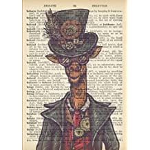 Steampunk Giraffe Vintage Dictionary Artwork Notebook: 7 x 10 inch Ruled Notebook/Journal with Costumed Giraffe Wearing Goggles, A Hat and Gears