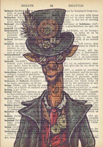 Steampunk Giraffe Vintage Dictionary Artwork Notebook: 7 x 10 inch Ruled Notebook/Journal with Costumed Giraffe Wearing Goggles, A Hat and Gears 3