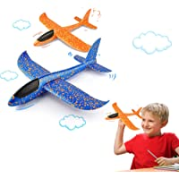 VCOSTORE 2pcs Throwing Foam Glider Airplane,EEP Manual Inertia Airplane Durable Aircraft for Kids Outdoor Sport Toys or…