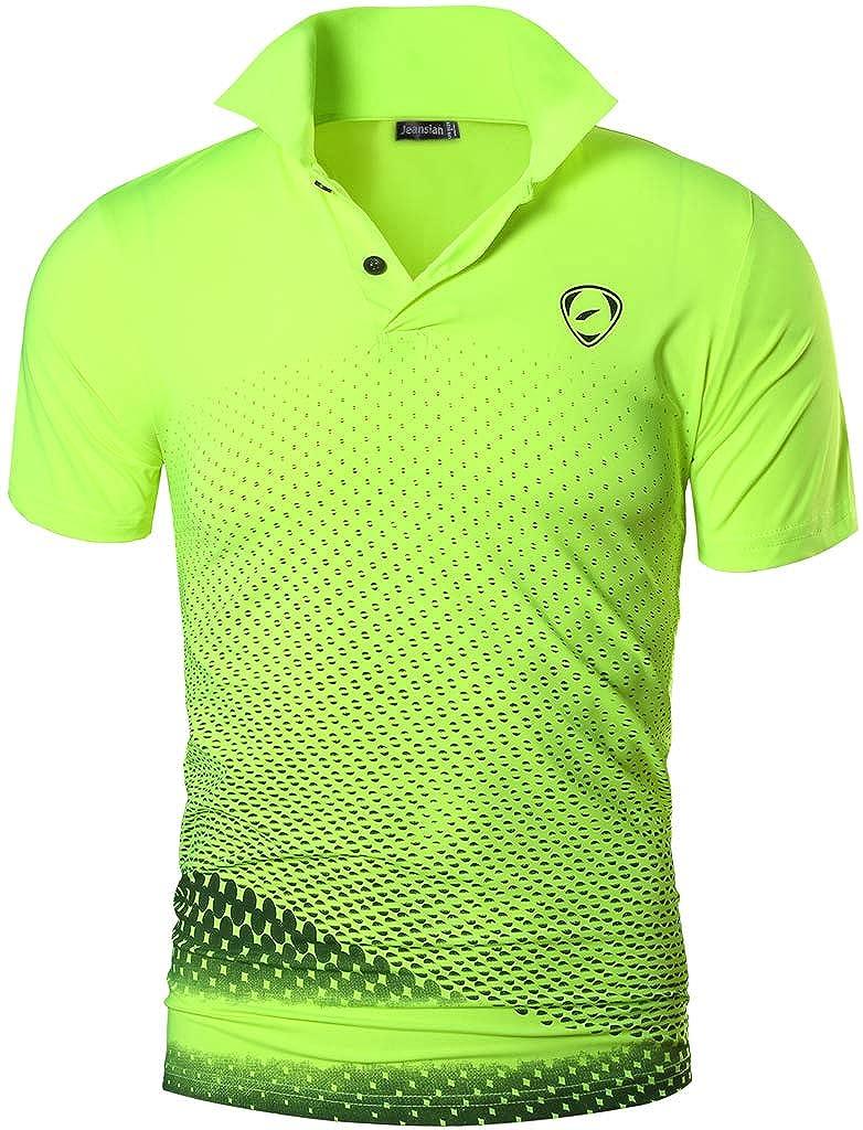 TALLA USA M (170-175cm 65kg-70kg). Jeansian Hombres Deportes Polo Shirt Poloshirt tee T-Shirt Tshirts Golf Tenis Badminton LSL195