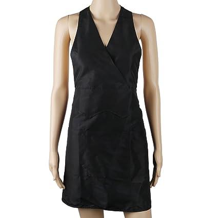 Segbeauty® 3-Bolsillo Negro Delantal de Trabajo Delantal de Camarera, Cocina del Restaurante