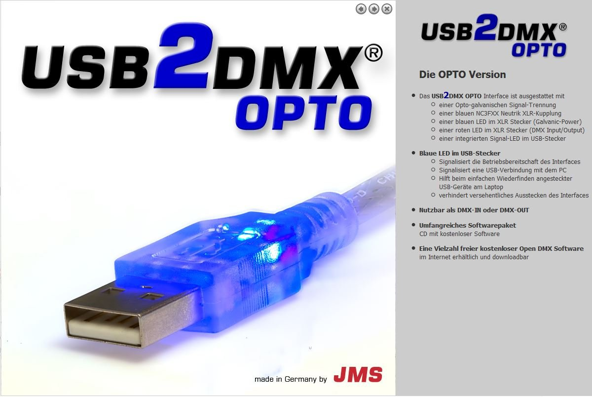 USB2DMX OPTO JMS USB Controller Interface 512 DMX channels 3 years ...
