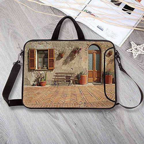 Tuscan Custom Neoprene Laptop Bag,Medieval Facade Rustic Wooden Door Ancient Brick Wall in Small Village Laptop Bag for Men Women Students,13.8