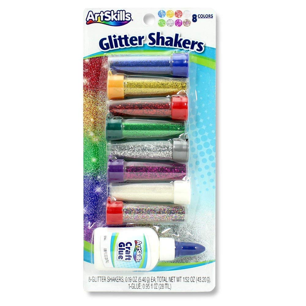 ArtSkills Classic Glitter Shakers, Arts and Crafts Supplies, Ultra-Fine Craft Glitter, .19oz each, Assorted Colors, 8-Count, Non-Toxic PA-1208