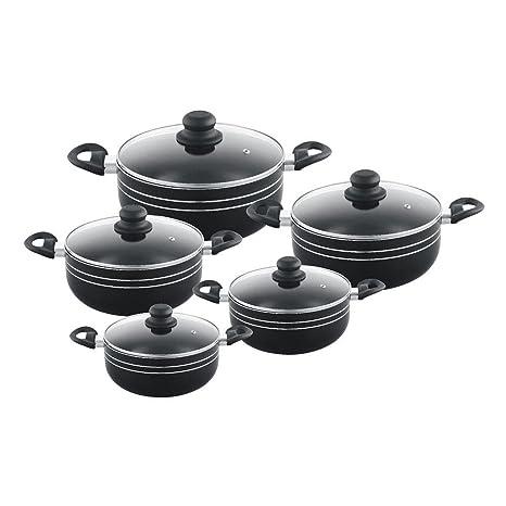Nueva antiadherente negro 5 piezas Juego de cacerola con tapa con revestimiento de cerámica cocina sartenes