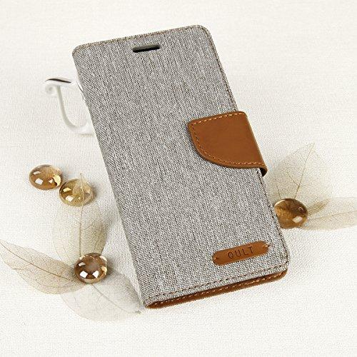 EGO® Luxury Bookstyle Handy Tasche mit praktischer Aufstellfuntkion für Huawei P9 Lite Grau Flip Case Magnetverschluss Book Cover mit Kartenfach Wallet Stand Schutz Hülle Canvas
