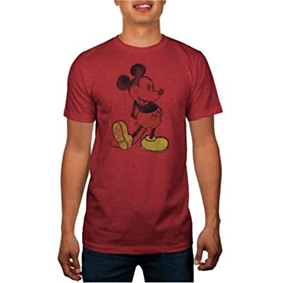 Disney Men's Classic Icon Mickey Mouse Red Graphic Tee