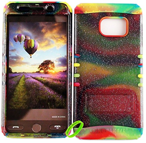 Samsung Galaxy S6 Edge Plus Cellphone Trendz Dual Layer Soft Hard Hybrid High Impact Protective Cover - Transparent Gliter Smoke Snap Design Hard Case on Rainbow - Case Smoke Snap Hard