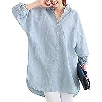 zhaoabao-AU Women Long Sleeve Loose Casual Button Down Linen Plus Size Blouse Shirts