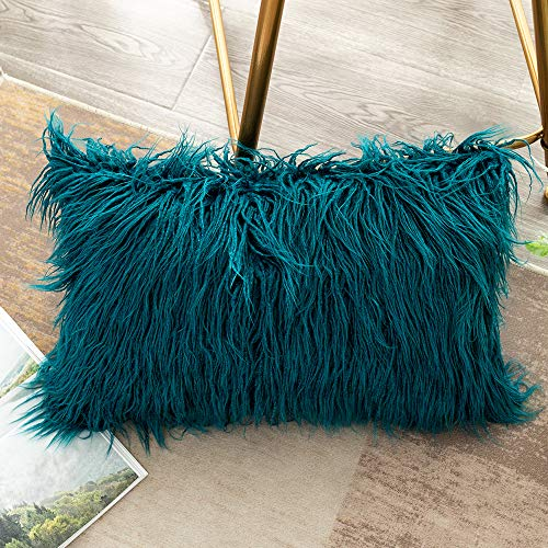 OJIA Deluxe Home Decorative Super Soft Plush Mongolian Faux Fur Throw Pillow Cover Cushion Case (12 x 20 Inch, Teal Blue)