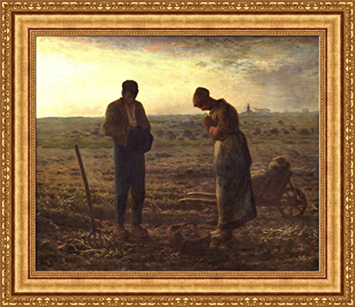 FOREVER Jean-Francois Millet The Angelus Framed Canvas Giclee Print - Finished Size (W) 32.6'' x (H) 28.1'' [Gold] (V08-31K-MD535-01)