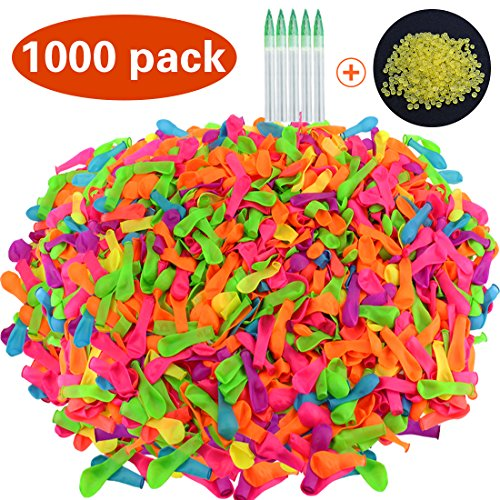 JINSEY Pack of 1000 Water Balloons with Refill Kits, Latex Water Bomb Balloons Fight Games - Summer Splash Fun Toy for Kids and Adults (Summer Balloons)