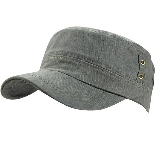 3a88628c Men's Cotton Flat Top Baseball Twill Army Millitary Corps Running Hat Cap  Visor