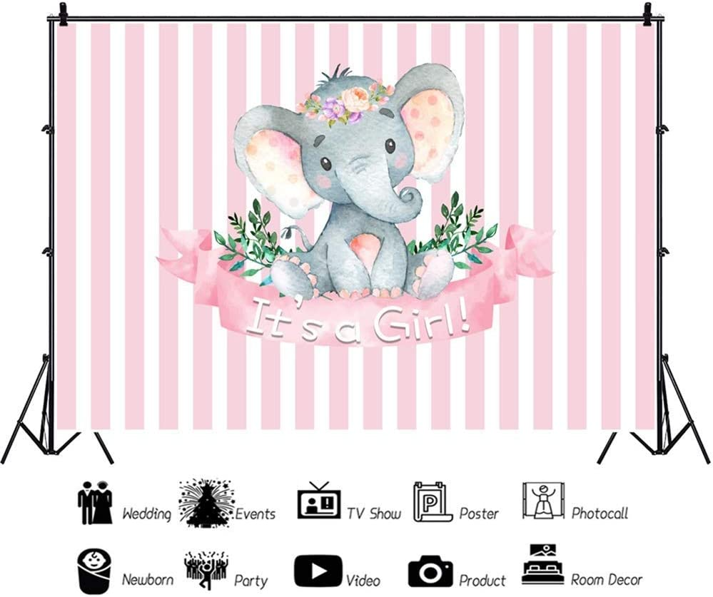 10x7ft Cartoon Cute Calf Elephant Girl Baby Shower Pink Striped Backdrop Vinyl Its A Girl Photography Background Gender Reveal Child Baby Girl 1st Bday Party Banner Cake Smash Photo Booth