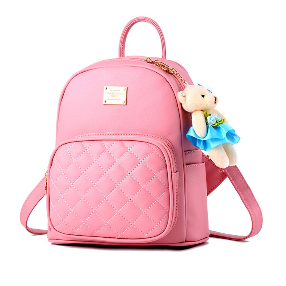 Girl with Bow Cute Leather Backpack Mini Backpack Wallet (Pink-1)
