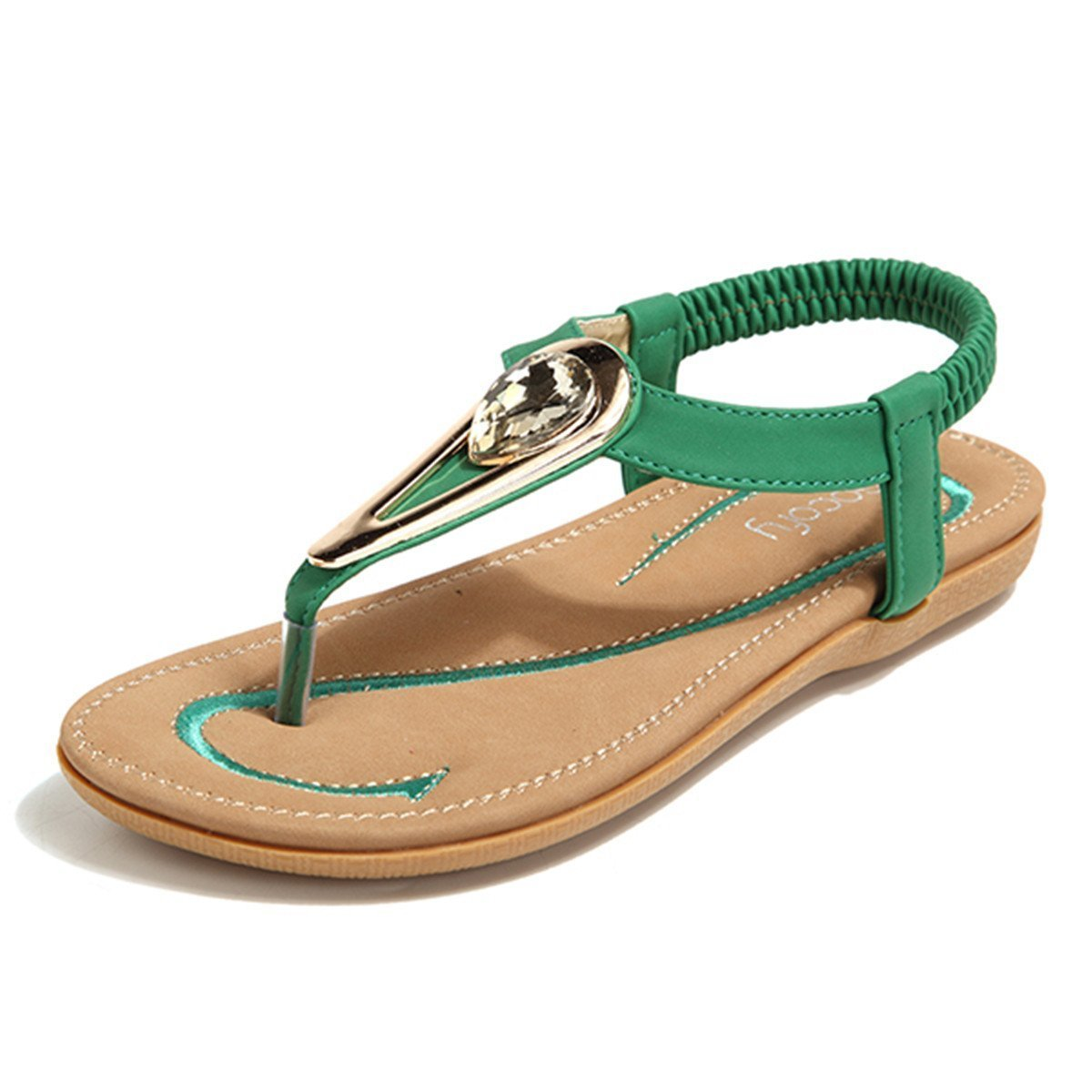 Socofy Bohemian Sandals,Women's Metal Rhinestone Elastic Clip Toe Slip On Summer Beach Casual Sandals Green 8 B(M) US