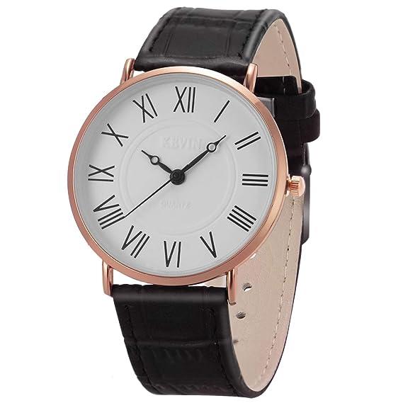 Promoción de ventas comprar genuino disfruta de un gran descuento Reloj de Pulsera para Hombre Ultrafino Minimalista SIBOSUN Cuarzo Correa de  Cuero Negro Números clásicos analógicos