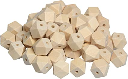 25 x White Colour Square Shaped Wooden Beads Jewellery Making Supplies Crafts