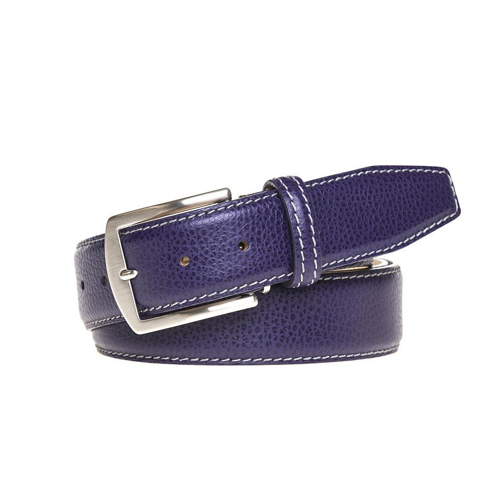 Purple Italian Pebble Leather Belt