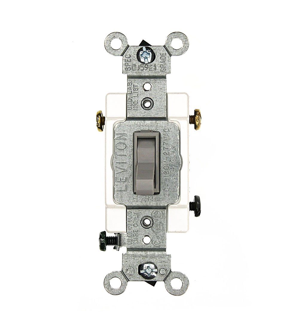 Leviton 54523-2GY 20 Amp, 120/277 Volt, Toggle Framed 3-Way AC Quiet Switch, Commercial Grade, Grounding, Gray