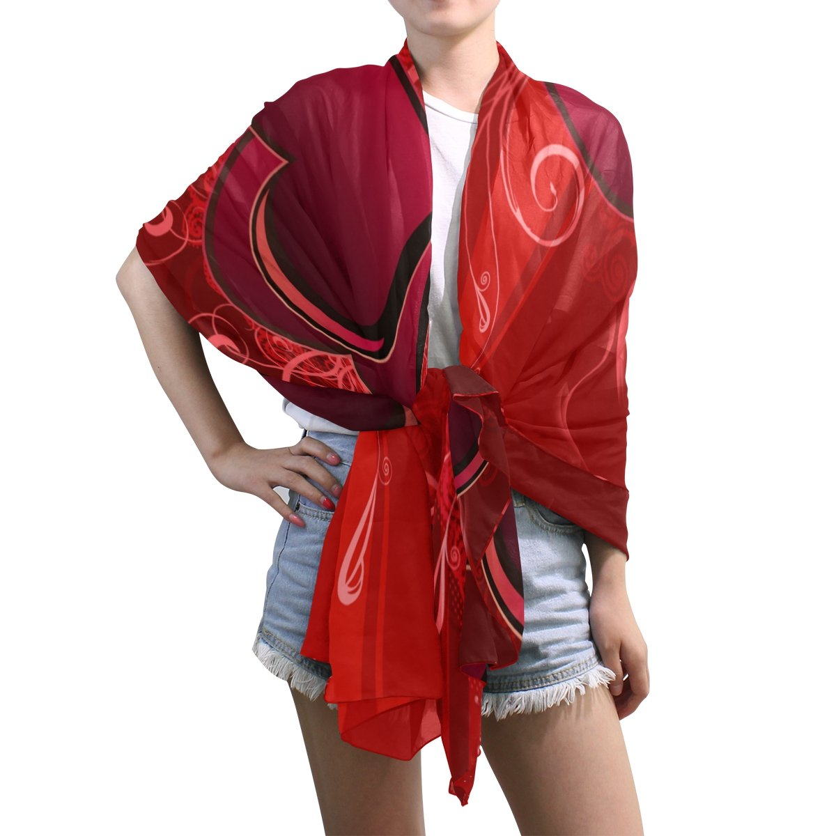 Scarfs for Women Valentines Day Love Heart Lightweight Fashion Long Shawl Wraps