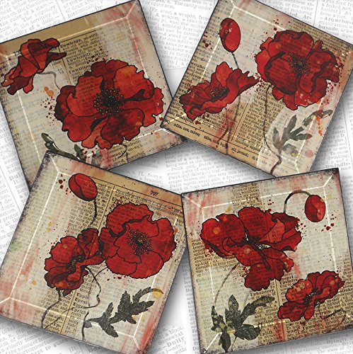 Red Poppy Handmade Glass Coaster Set 4 or 5 inch square from Upcycled Dictionary page book art - WilD WorDz - Poppy Talk