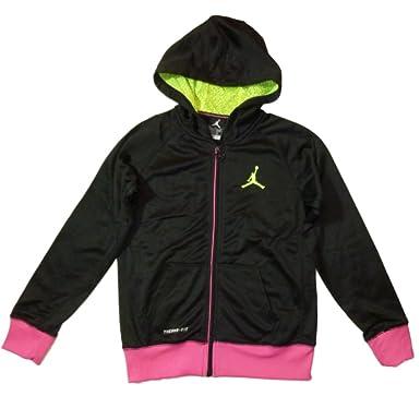 the latest 32be3 8339a Jordan Nike Kinder Mädchen Sport Therma Fit Jacke mit Kapuze schwarz pink  (Small 128-
