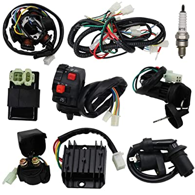 OTOHANS AUTOMOTIVE Complete Wiring Harness kit Electrics Wire Loom Assembly with Full Copper Wire For GY6 4-Stroke Four wheelers Engine Type 125cc 150cc Pit Bike Scooter ATV: Automotive