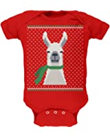 Animal World Ugly Christmas Sweater Big Llama Red Soft Baby One Piece