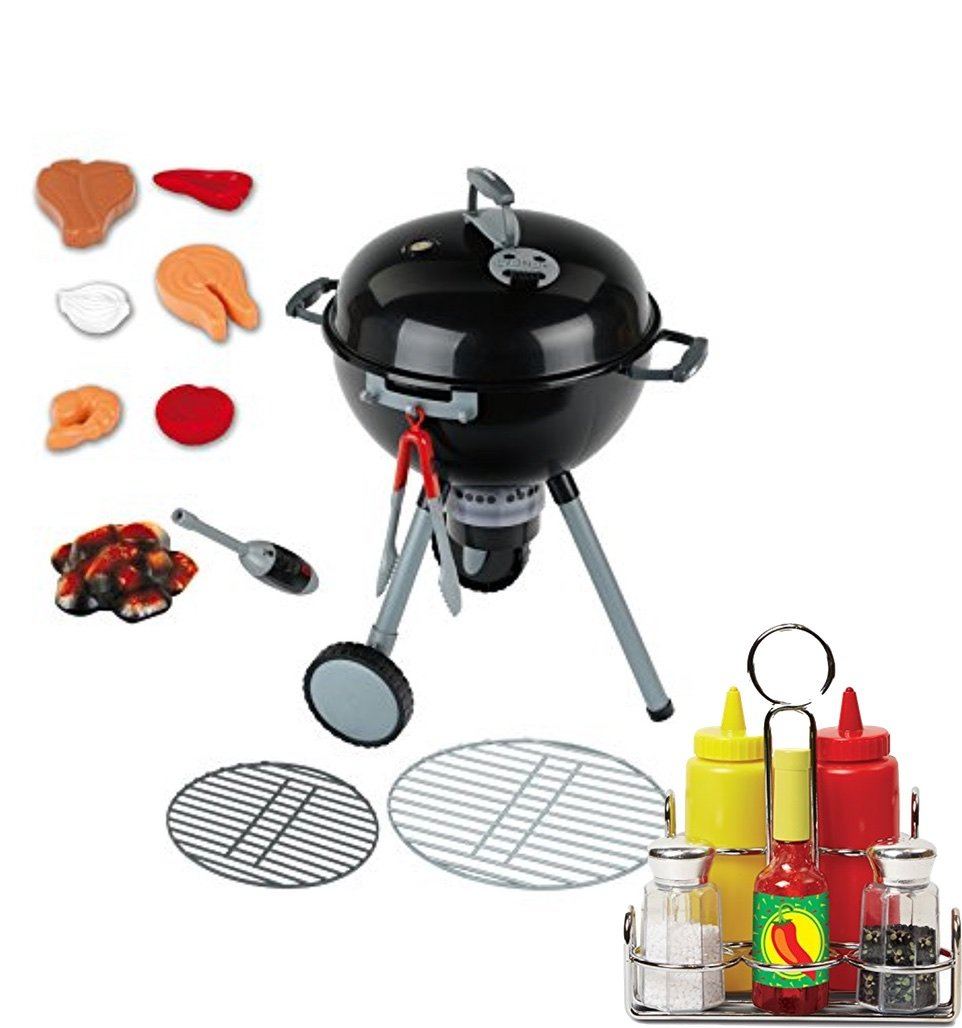 Bundle Includes 2 Items - Theo Klein Weber Kettle Grill Toy and Melissa & Doug Condiments Set (6 pcs) - Play Food, Stainless Steel Caddy