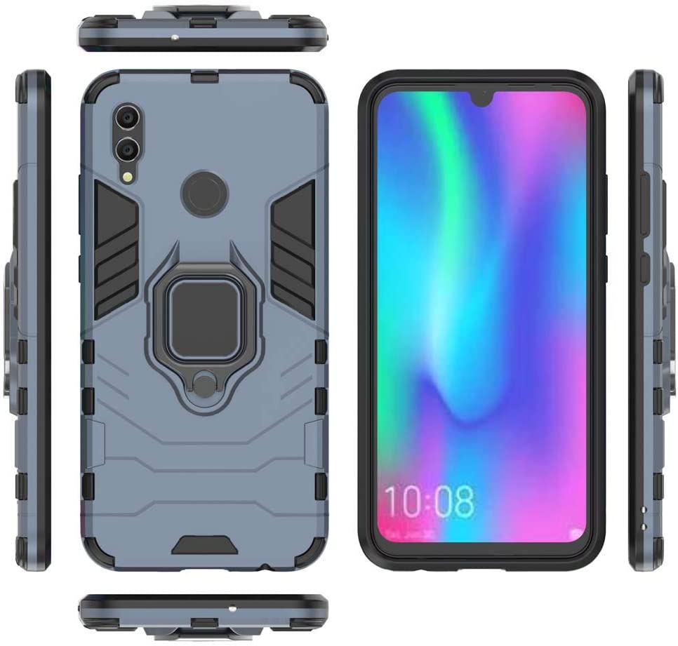 Mvced Case Compatible for Huawei P20 Lite//Nova 3E Cases with Tempered Glass Screen Protector,Hybrid Heavy Duty Protection Shockproof Defender Kickstand Armor Case Cover,Black
