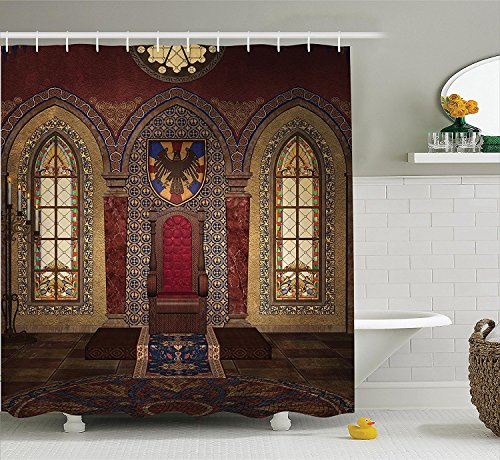 [Gothic House Decor Shower Curtain Set Red Medieval Throne in Chapel Eagle Portrait on Wall Ancient Fantasy Church Print Bathroom Accessories Brown] (Camper Gothic Costumes)