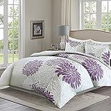 Purple Duvet Cover Comfort Spaces Duvet Cover Full/Queen Size - Enya Purple and GrayFloral Bedding Sets 3 Pieces Includes [ 1 Cover For Duvet, 2 Shams ] Queen Duvet Sets