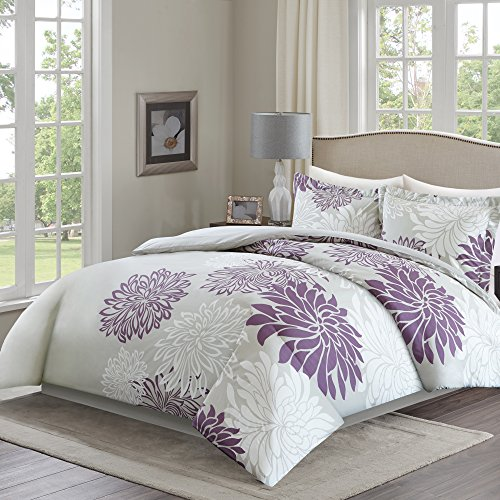 Comfort Spaces – Enya Cover for Duvet Mini Set - 3 Piece – Purple and Grey– Floral Printed Pattern – King size, includes 1 Cover for Duvet, 2 Shams (Cover King Purple Duvet)