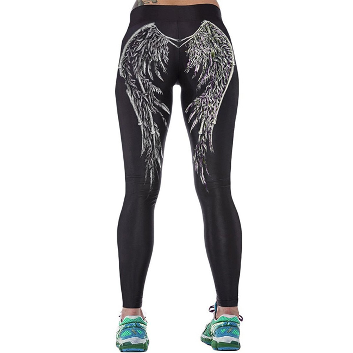 Ayliss® Damen 3D Druck Leggins Leggings Print Aufdruck Muster Leggins Tattoo Leggings Stretch Hose Strumpfhosen Yoga Sport Pants, S/L/2XL ([Tag Size S]=EU 30-32, #Flügel)