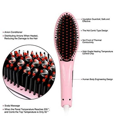 Alisador de pelo cepillo de pelo eléctrico Peine Pelo alisado de Peine Plancha de pelo planchas color rosa: Amazon.es: Belleza