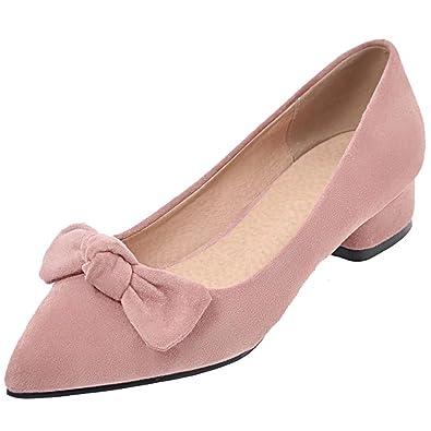 AIYOUMEI Damen Chunky Heel Pumps mit Schleife und 3cm Absatz Spitze Bequem Schuhe