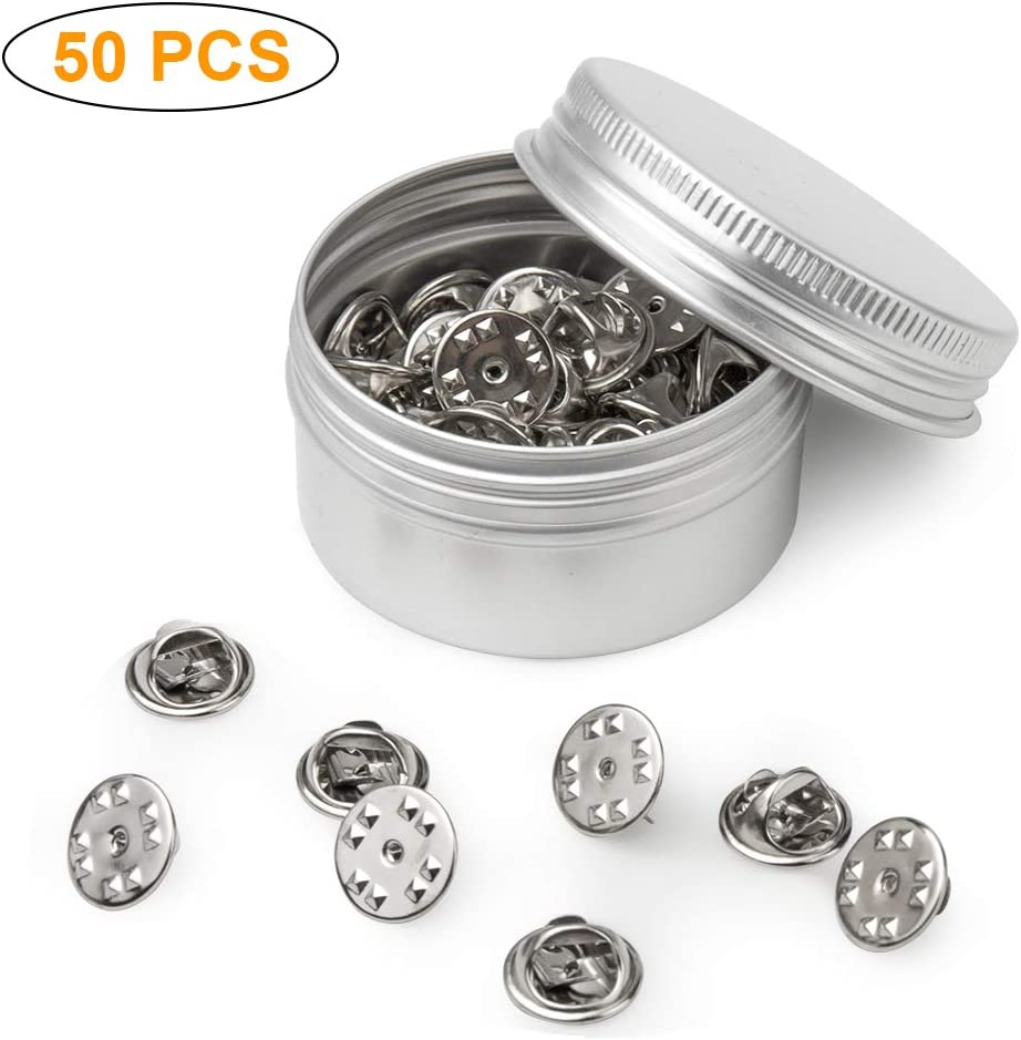 50PCS Metal Locking Pin Backs, Pin Keepers Locking Clasp, Badge Insignia Pin Backs Replacement (Silver)