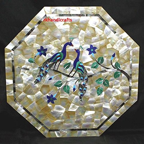 18'' Marble Home Office End Table Top Elbone Shell 7 Multi Color Stones Peacock Inlay Art Indian Crafts Love Birds