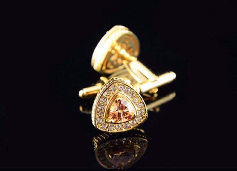Kristall-Dreieck-Manschettenkn/öpfe Tri01 Manschettenkn/öpfe Vintage-Stil goldfarben mit 18 Karat Gold