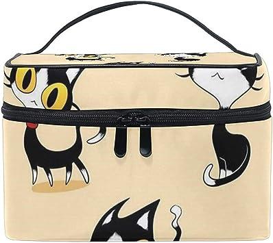 Bolsa de cosméticos multifunción Kit de artículos de tocador Estuche de Maquillaje con Cremallera de Calidad Portátil 3 Gatos Negros Bolsa de Maquillaje: Amazon.es: Equipaje