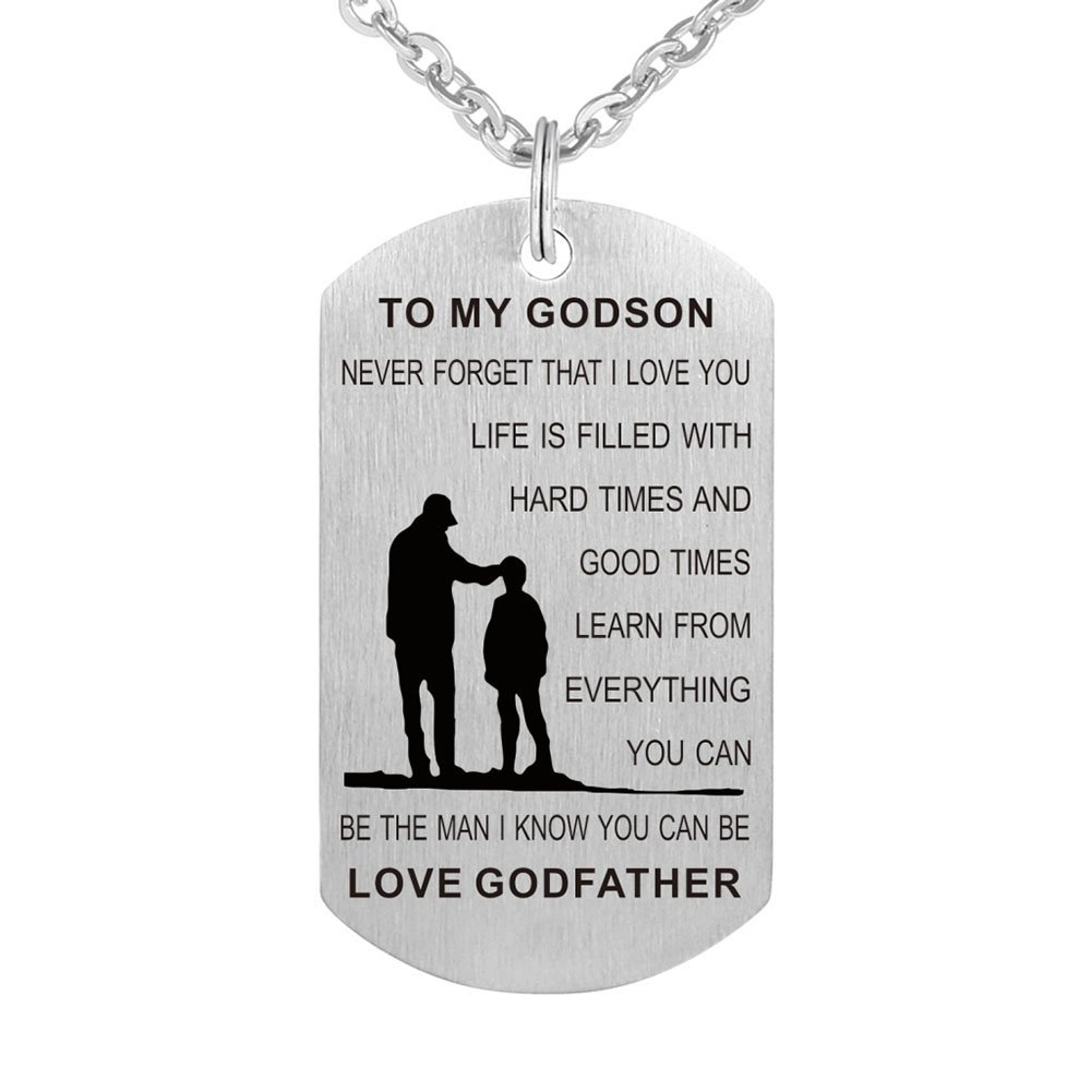 Kisseason to My Godson Never Forget That I Love You Birthday Gift Jewelry Keychain Pendant Necklace from Godfather