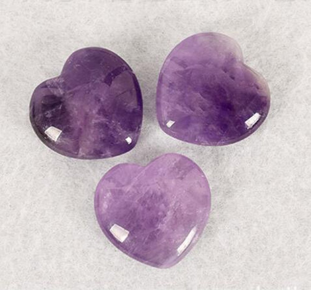 Natural Amethyst Gemstone Healing Crystal Puff Heart Love Worry Fengshui Stone Chakra Reiki Balancing Massage and Decoration by JRT (Image #3)