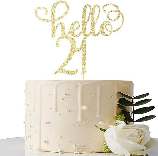 Amazon.com: Hello 21 tarta topper-21th decoraciones de señal ...