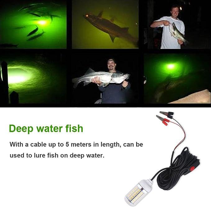 WOVELOT 12V 30W Led Luz de Pesca de Noche Submarina Luz de Buscador de Peces con Cable L/ámpara Led Sumergible Luz de Atracci/ón de Peces Calamares de Cebo Amarillo